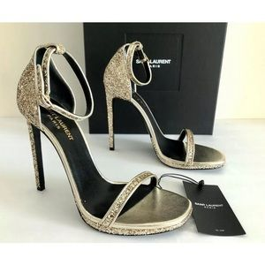 SAIMT LAURENT PARIS JANE GALAXI GLITTER SANDALS 39